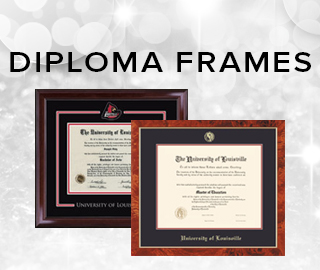 Holiday theme background with picture of two diploma frames. Click to shop diploma frames.