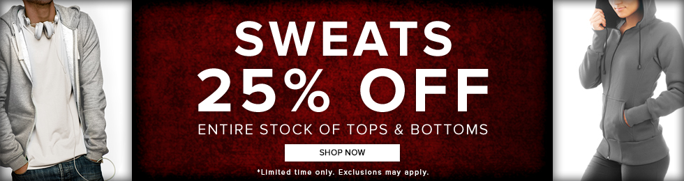 Picture of a man and woman wearing fleece jackets. Sweats 25% off entire stock of tops and bottoms. Limited time only. Exclusions may apply. Click to shop now.