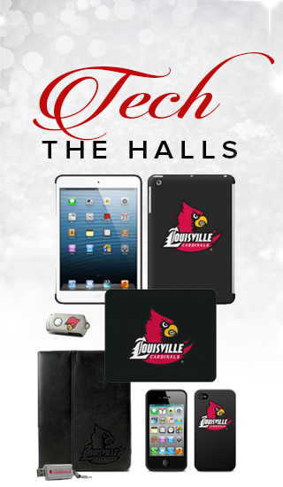 Holiday theme background with picture of multiple tech items with the school logo. Tech the halls. Click to shop.