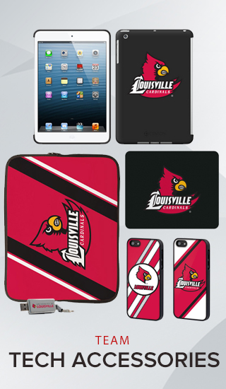 A picture of electronic accessories with school colors and logo. Click to shop team tech accessories.